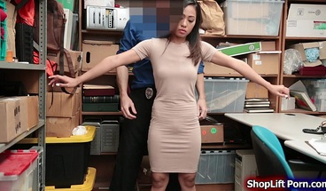 Asian shoplifter fucked by store officer