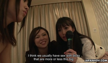 Japanese reporter, Asakura Kotomi and her friends suck cock,